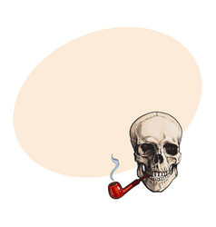 hand drawn human skull smoking lacquered wooden vector image