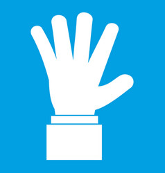 hand showing five fingers icon white vector image vector image