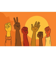 Hands rising in political protest vector