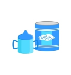 Industrical can with powder milk and sippy cup vector