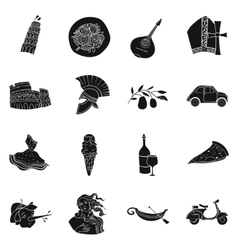 Italy country set icons in black style big vector