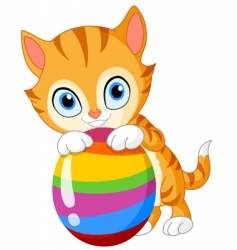 kitten with egg Easter vector image vector image