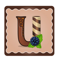 Letter u candies chocolate vector