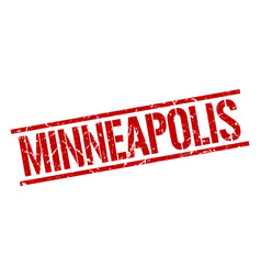 Minneapolis red square stamp vector