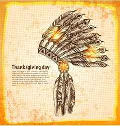 Native American indian headdress with feathers vector image vector image