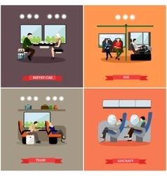 Passengers in public transport concept vector