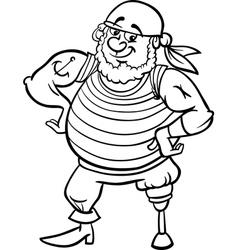 pirate cartoon for coloring book vector image vector image