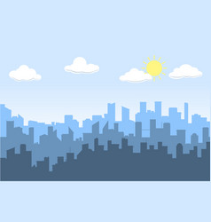 Random blue city skyline on light background day vector