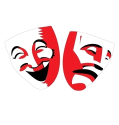 Red and black theater masks on white background vector image