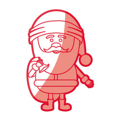 Red silhouette of santa claus with gift bag vector