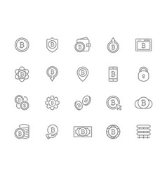set of bitcoin line icons investments vector image