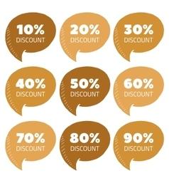 Set of gold percent discount speech bubble vector