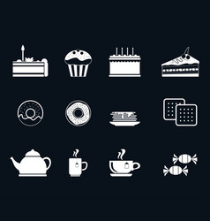 set of icons for tea vector image