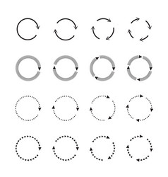 sets of black circle arrows icons vector image