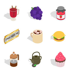 Soft drink icons set isometric style vector