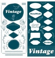 Vintage hand made frame and divider lines set vector image