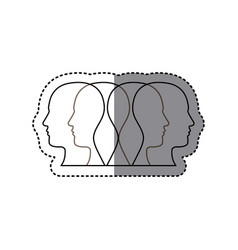 white contour humans icon vector image vector image