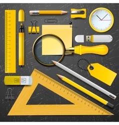 Yellow school supplies vector image vector image