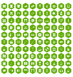 100 leisure icons hexagon green vector