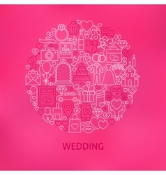 Line wedding icons circle concept vector