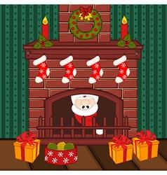 Santa Claus inside fireplace vector image
