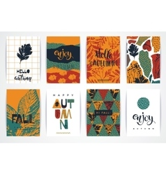 Set of artistic creative autumn cards vector
