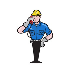 Telephone repairman lineman worker phone vector