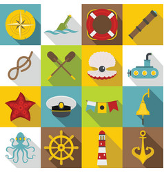 Nautical icons set flat style vector