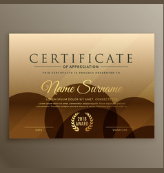 Premium brown certificate design template vector