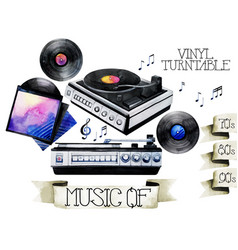 Watercolor vinyl turntable and records vector