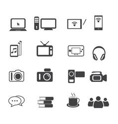 Big data icon set entertainment vector