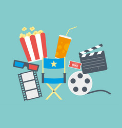 Movie popcorn ticket clapperboard and film vector