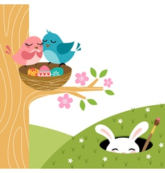 Easter couple of birds vector
