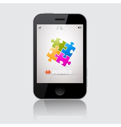 Smartphone with puzzle theme on grey backgro vector