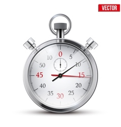 Realistic shine analog stop watch vector