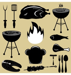 Set icons barbecue grill vector
