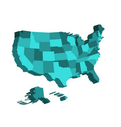 3d map of united states of america usa divided vector image vector image