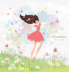 Happy girl on the floral meadow with pink vector