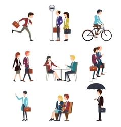 Business people in urban outdoor activity vector