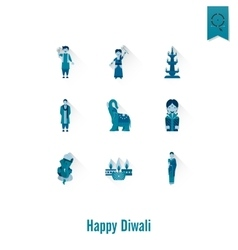 Diwali indian festival icons vector
