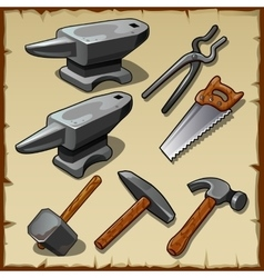 Set of anvils saws hammers and other tools vector