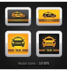Taxi cab set buttons on background pixel vector