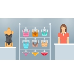 Lingerie shop interior flat vector