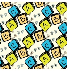 Abc blocks seamless pattern vector