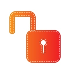 Unlock sign  orange applique isolated vector
