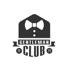 Gentleman Club Label Design WIth Bow Tie vector image