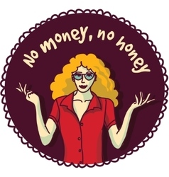 Pretty woman and sign about money color round vector