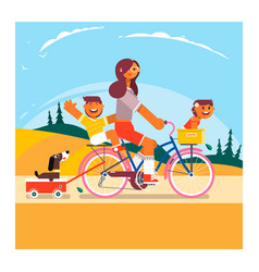 Active family vacation mother son and daughter vector
