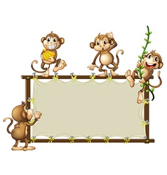 An empty banner with monkeys vector image