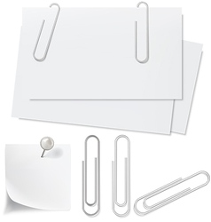 Blanks white paper pin and clip vector